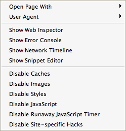 Safari Developer Menu